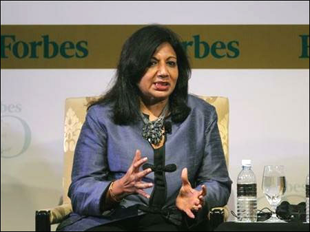 Kiran Mazumdar-Shaw speaks during the Forbes Global CEO Conference in Kuala Lumpur.