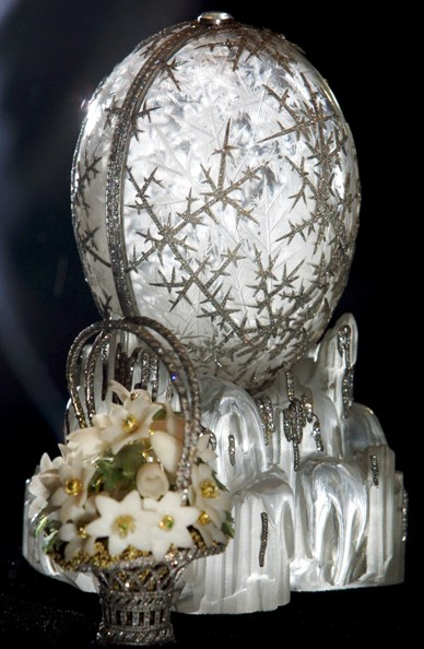 The Faberge 'Winter Egg' stands on display at a presentation for journalists in the Pushkin Museum.