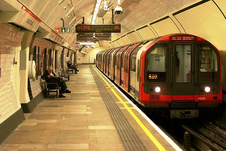 A tube train at Lancaster Gate station, London.