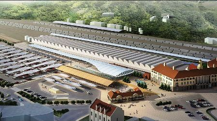 An artist's rendering of the Pretoria Railway Station.