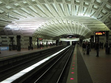 Intersection of ceiling vaults at Metro Center, a Metro station in Washington DC.