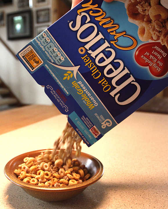A box of General Mills breakfast cereal in Golden, Colorado, United States.