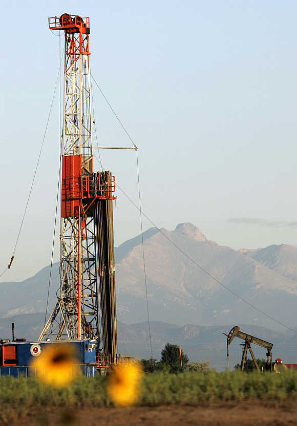 New oil well is drilled near Dacono, Colorado.
