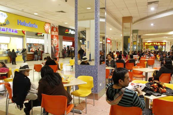 A shopping mall food court in Huancayo city in Peru's central Andes.