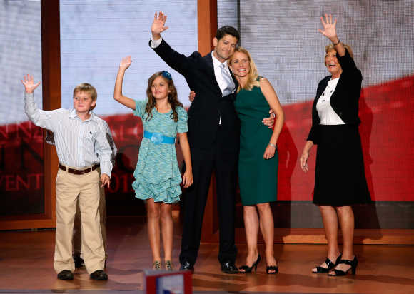 Republican Vce-Presidential nominee Paul Ryan waves with his son Charlie, his daughter Liza, his wife Janna and mother Betty Douglas after accepting the nomination during the third session of the Republican National Convention in Tampa, Florida.