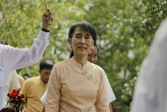 Aung San Suu Kyi in the Pathein township, capital of the Irrawaddy division, in Myanmar.