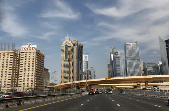 High-rise residential and office towers are seen near Sheikh Zayed Road in Dubai.