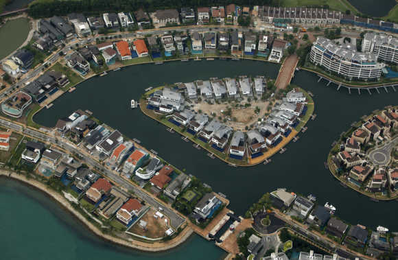 An aerial view of the Sentosa Cove luxury homes in Singapore.