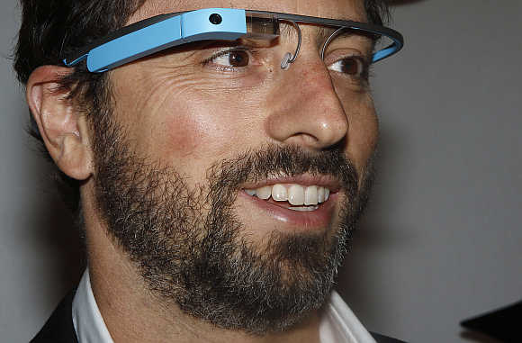 Google founder Sergey Brin wears Google Glass in New York.