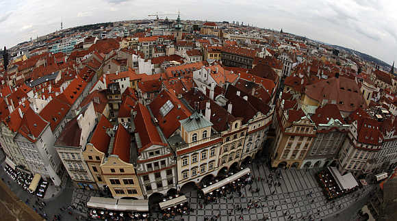 A view of Prague's historical centre from the Old Town Hall Tower in the Czech Republic.
