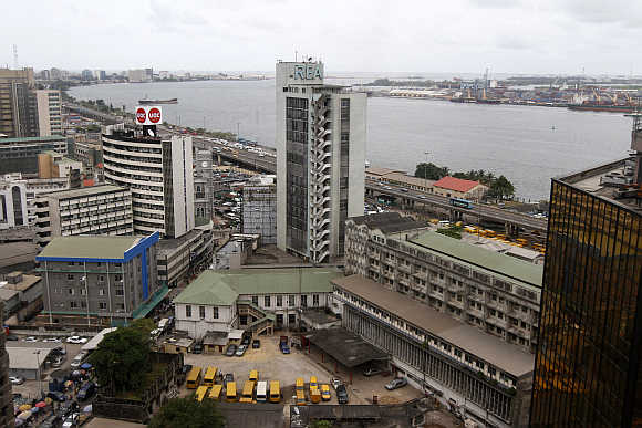 A view of the Nigeria stock exchange building in the central business district in Lagos.