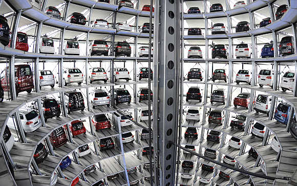 Volkswagen cars in a delivery tower at the company's headquarters in Wolfsburg, Germany.