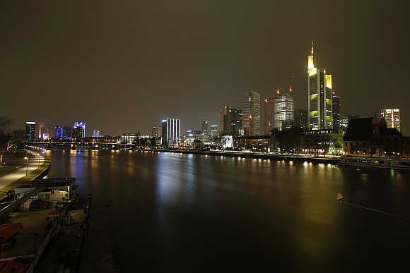 City skyline of Frankfurt on the banks of Main river.