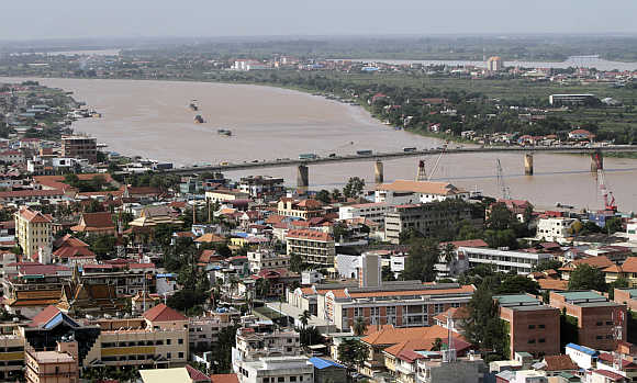 An aerial view of Phnom Penh and Mekong river in Cambodia.