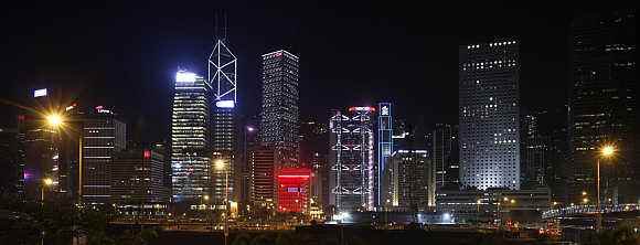 A view of the Central District in Hong Kong.