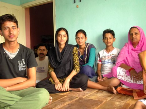 Umar Khan (2nd from left) with his family.