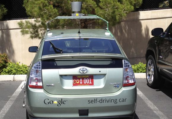 Handout photo courtesy of the Nevada Department of Motor Vehicles shows a Google self-driven car in Las Vegas, May 1, 2012.