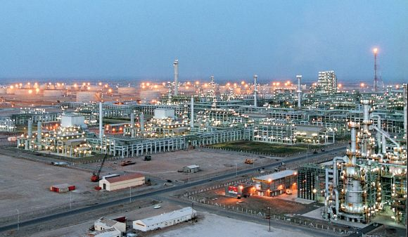 A February 2003 photo of the Reliance Industries Limited petrochemical plant at Jamnagar in western India.