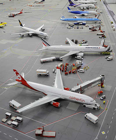 Models of planes at the 'Miniature Wunderland' exhibition in Hamburg, Germany.