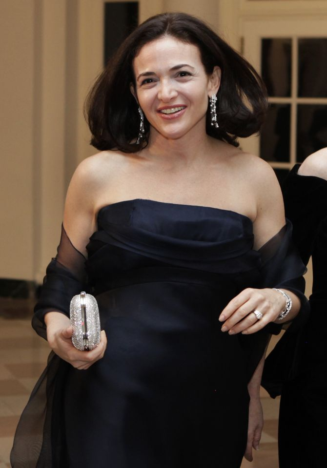 Sheryl Kara Sandberg, Chief Operating Officer of Facebook, arrives at a state dinner in honour of the state visit of South Korean President Lee Myung-bak, at the White House in Washington.