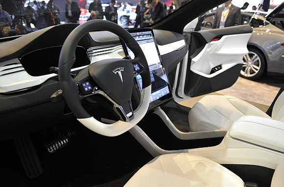 View of the interior of Tesla Model X in Detroit, Michigan.