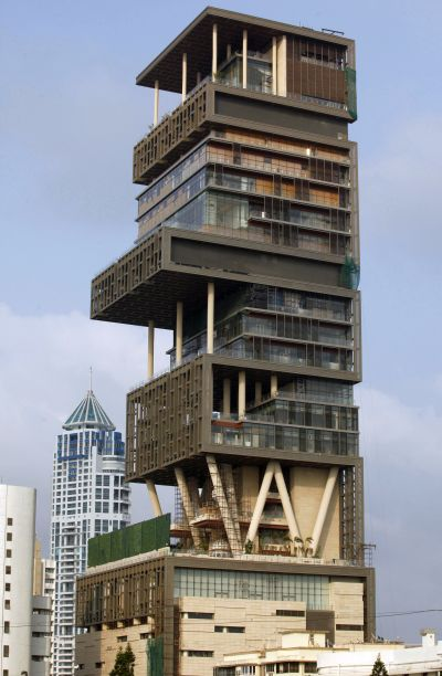 A view of the new house of Mukesh Ambani, chairman of Reliance Industries.