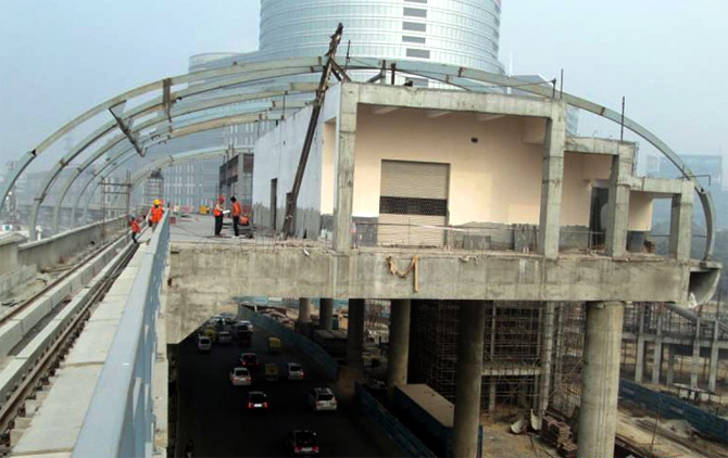 Construction on the Gurgaon Metro.