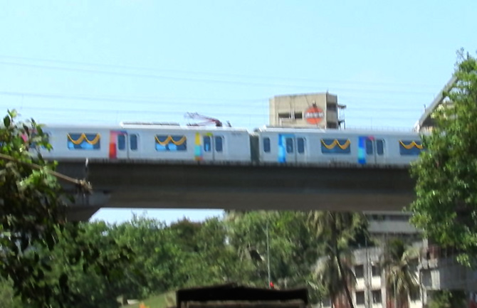 Trial run of the Mumbai Metro.