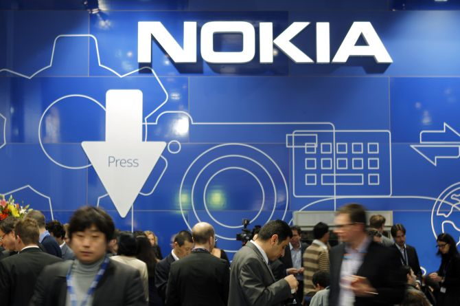 People visit the Nokia area at the Mobile World Congress in Barcelona.