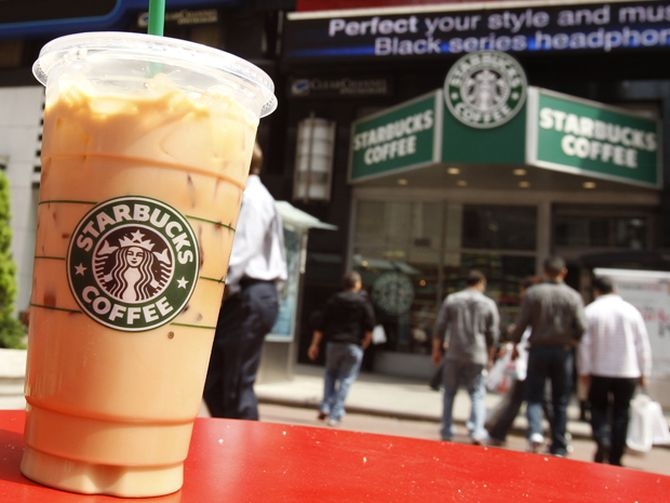 A Starbucks drink is seen on a table in New York's Times Square.