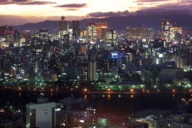 A night view of Osaka City, Japan.