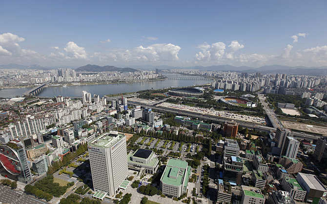 Part of Gangnam area is seen down the Han River in Seoul.