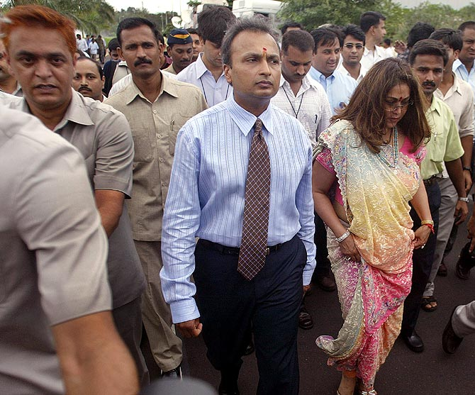 Anil Ambani with Tina Ambani in Mumbai.