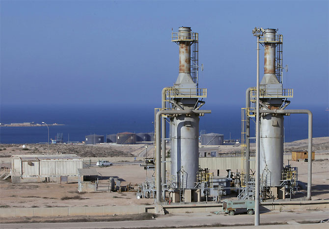 A general view of the Marsa al Hariga oil port in the city of Tobruk, east of Tripoli.