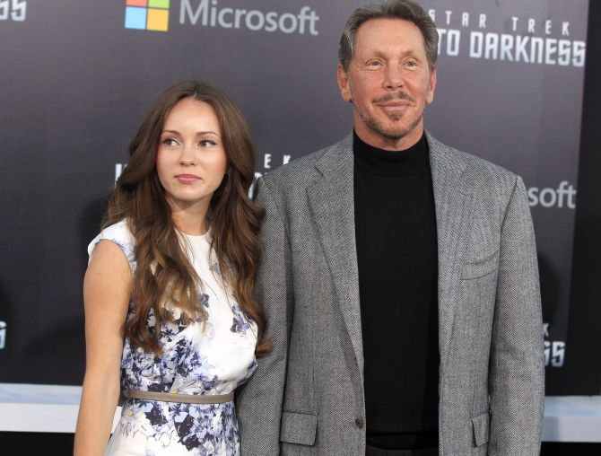 Oracle CEO Larry Ellison and Nikita Kahn arrive as guests for the premiere of the new film Star Trek Into Darkness in Hollywood.