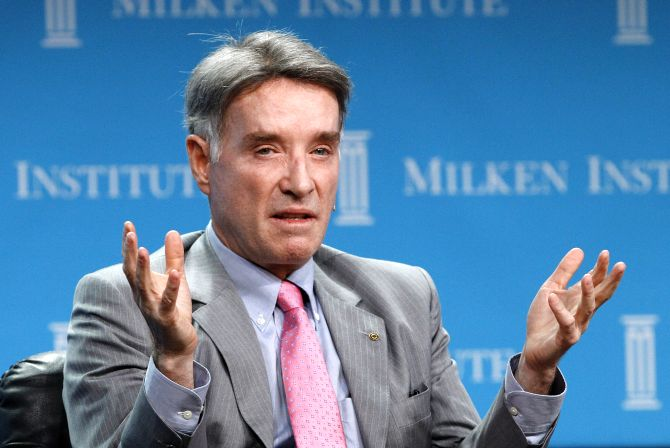 Eike Batista, Chairman and CEO of EBX Group speaks at a dinner panel discussion at the Milken Institute Global Conference in Beverly Hills, California.