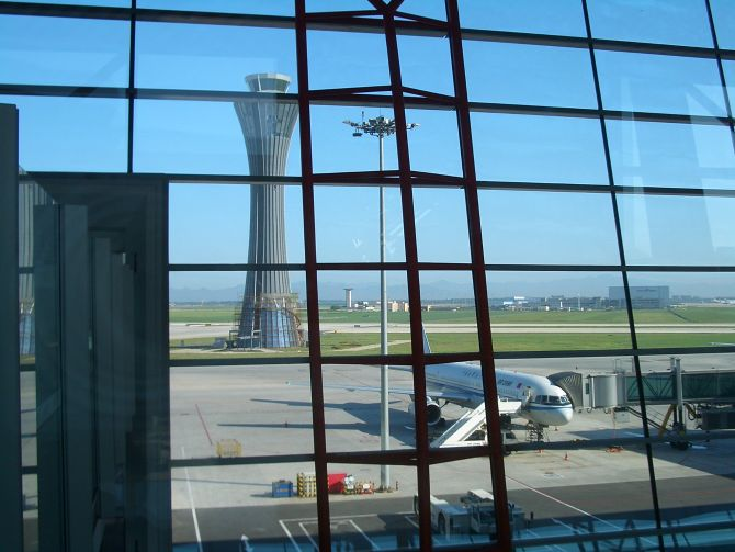 Terminal 3 control tower at the existing Beijing international airport.