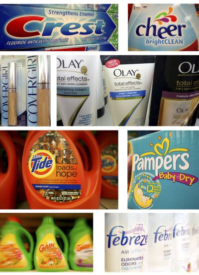 Combination photo shows various Procter & Gamble products.