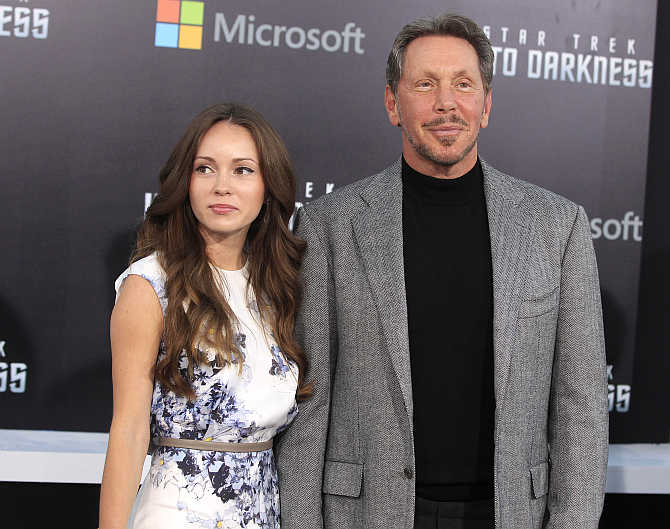 Larry Ellison with Nikita Kahn in Hollywood.