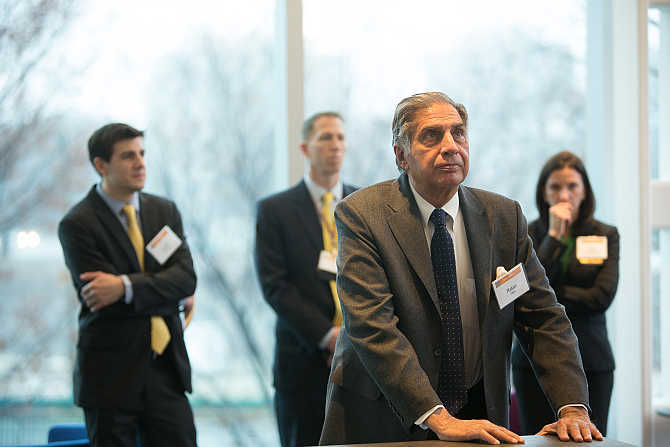 Ratan Tata at Tata Hall at Harvard Business School in Boston.