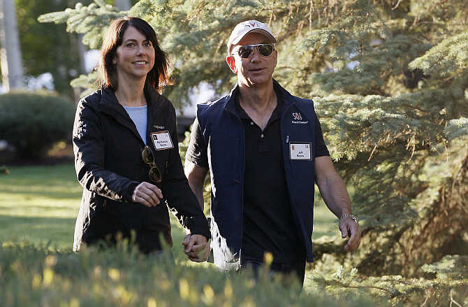 Jeff Bezos with his wife MacKenzie at the Sun Valley, Idaho Resort, United States.