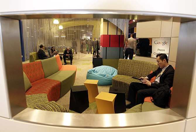 A view shows the lounge area is seen during a media tour in the Google data centre in Changhua Coastal Industrial Park, central Taiwan.