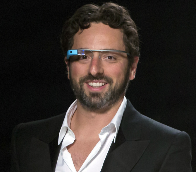 Google co-founder Sergey Brin walks the runway wearing new product Glass by Google after the Diane von Furstenberg Spring/Summer 2013 collection show during New York Fashion Week.
