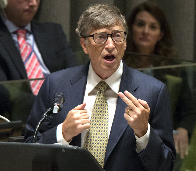 Microsoft founder Bill Gates speaks during the Millennium Development Goals event on the sidelines of the United Nations General Assembly, at the UN Headquarters in New York.
