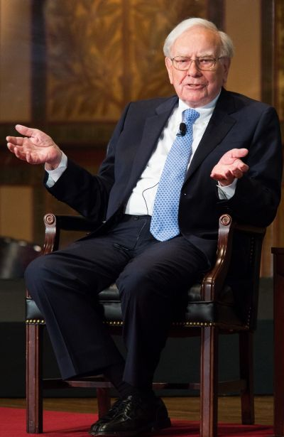 Warren Buffett, chairman of the board and CEO of Berkshire Hathaway, speaks in Gaston Hall at Georgetown University.