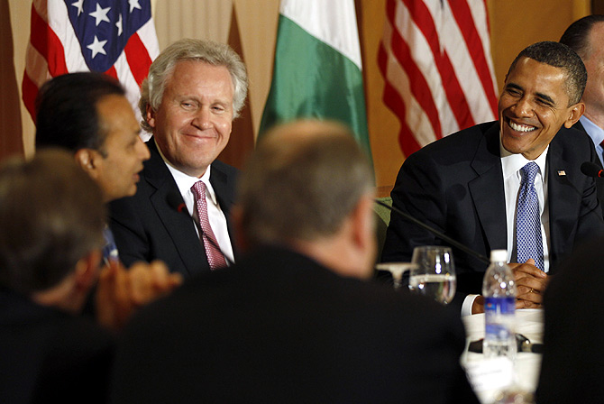 U.S. President Barack Obama (R) and General Electric's CEO Jeffrey Immelt (3rd L) listen to Reliance Group's Anil Ambani (L) at the U.S.-India Business and Entrepreneurship Summit in Mumbai.