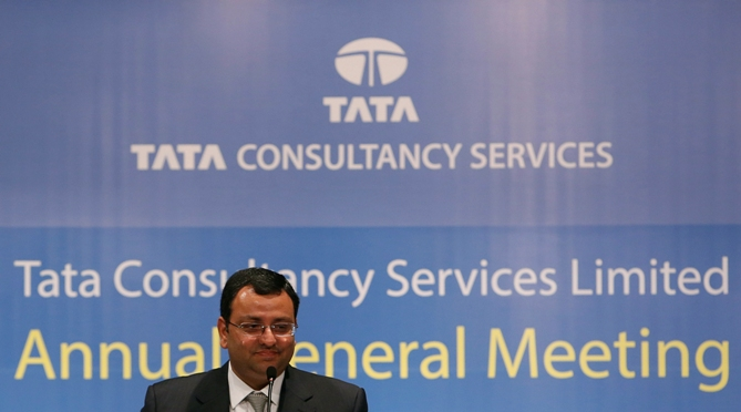 Tata Group Chairman Cyrus Mistry speaks to shareholders during the Tata Consultancy Services' annual general meeting in Mumbai.