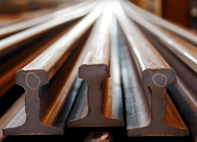 Rails are seen before finishing touches at a Tata Steel rails factory.