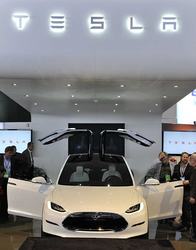 Tesla Model X Concept SUV on display in Detroit, Michigan.