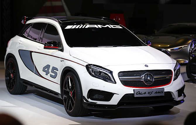 Mercedes-Benz's GLA 45 AMG concept vehicle on display in Shanghai Los Angeles.